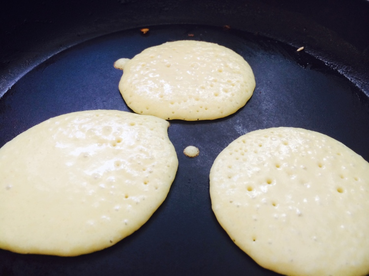 Millet Pancakes Ready for flipping